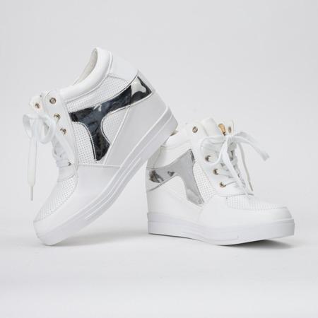 Białe sneakersy na koturnie Ester- Obuwie