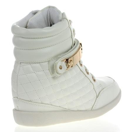 Białe sneakersy na koturnie - Obuwie
