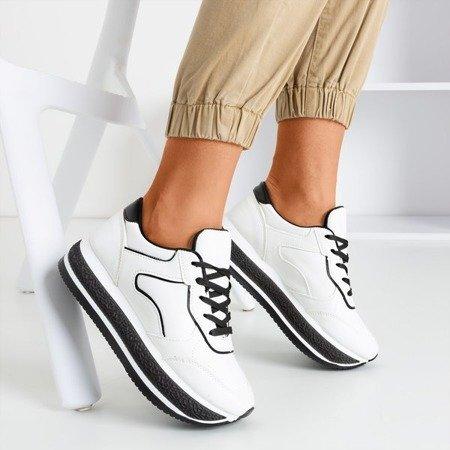 Białe sportowe buty damskie na grubej platformie z czarnymi wstawkami Savss - Obuwie