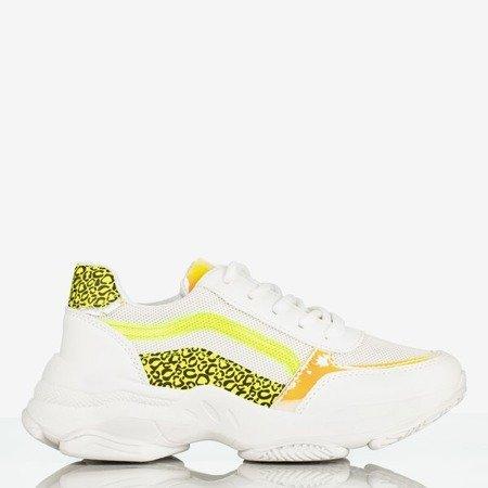 Białe sportowe buty damskie na grubej podeszwie Fancy Bass - Obuwie