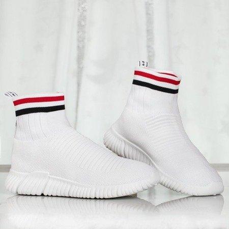 Białe sportowe buty z ozdobną skarpetką Sallitsa - Obuwie