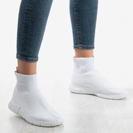 Białe sportowe buty z ozdobną skarpetką Sallitsae - Obuwie
