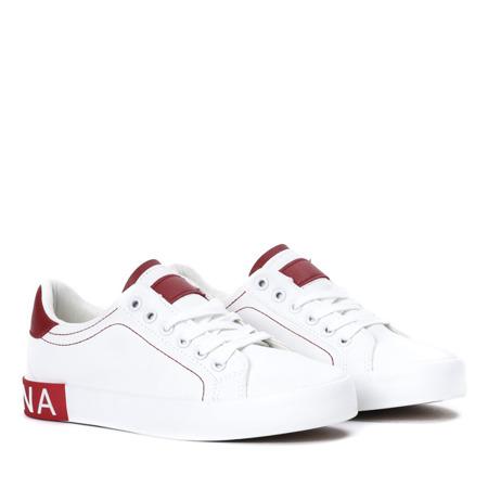 Białe tenisówki z czerwonymi wstawkami Ginnie - Obuwie