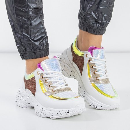 Białe ugly shoes na grubej podeszwie Emi - Obuwie