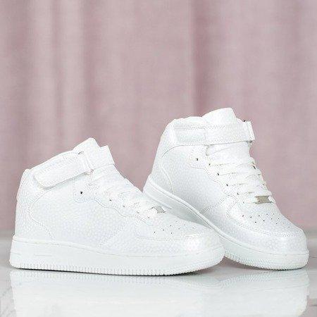 Białe wysokie buty sportowe na platformie Cedessella - Obuwie