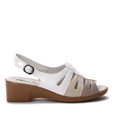 Biało-beżowe sandałki- Obuwie