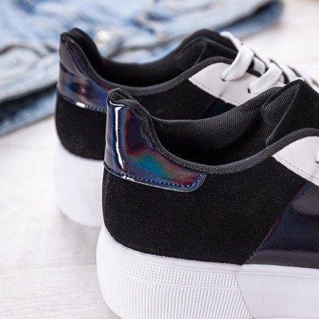 Biało-czarne obuwie sportowe na platformie Des - Obuwie