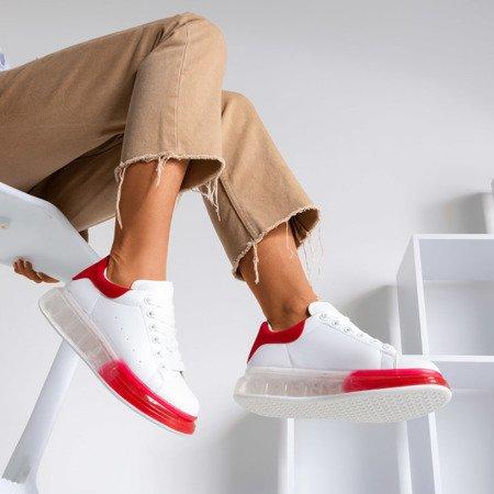 Biało-czerwone tenisówki na grubszej podeszwie Judite - Obuwie