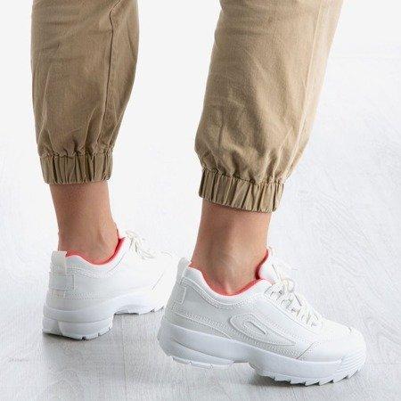 Biało - fuksjowe damskie buty sportowe Boomshom - Obuwie