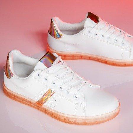 Biało-pomarańczowe tenisówki z holograficzną wstawką Dalia - Obuwie