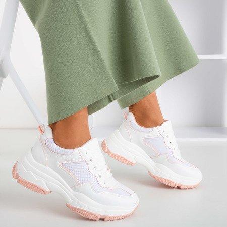 Biało - różowe sportowe sneakersy damskie Balgra - Obuwie