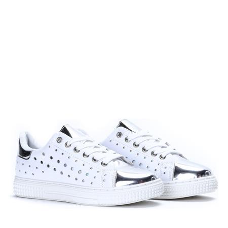 Biało-srebrne, sportowe tenisówki Ada - Obuwie