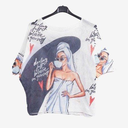 Biały damski sweter z szarym wykończeniem - Odzież