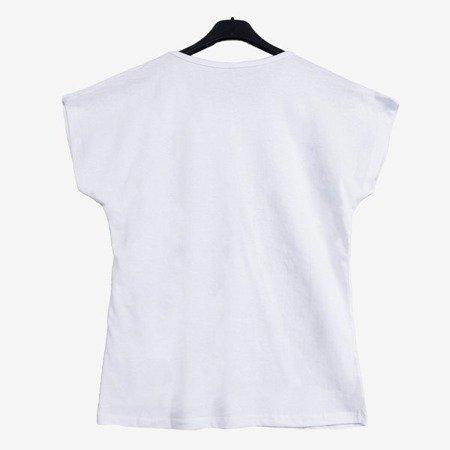 Biały t-shirt damski w kwiatki z napisami - Odzież