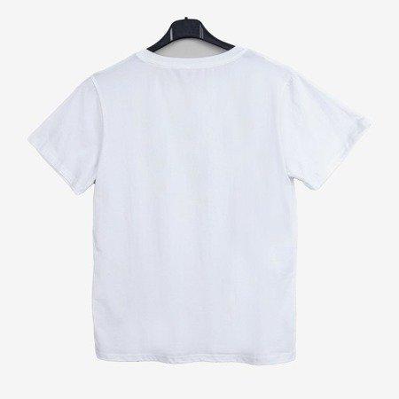Biały t-shirt damski zdobiony cekinami oraz cyrkoniami - Odzież