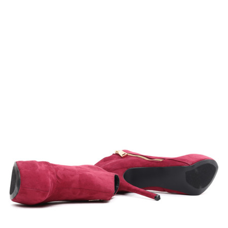 Bordowe botki na szpilce Blooane - Obuwie