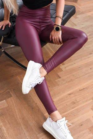 Bordowe legginsy z wysokim stanem - Spodnie