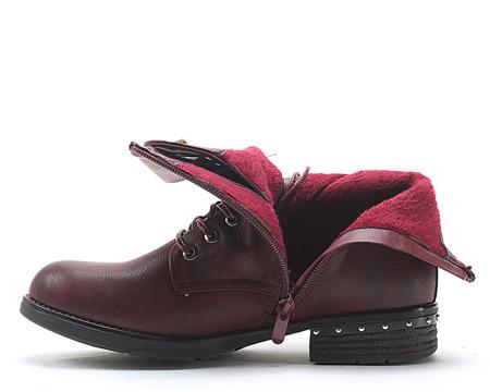 Bordowe sznurowane botki - Obuwie