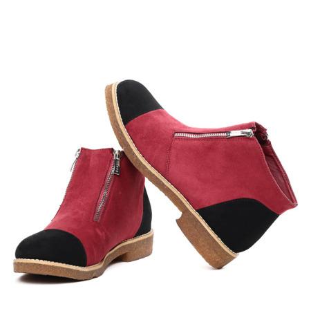 Bordowo-czarne botki z suwakami Emilie- Obuwie