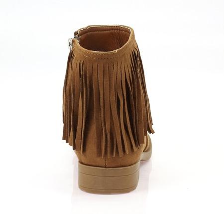 Botki z frędzlami - kolor camel - Obuwie