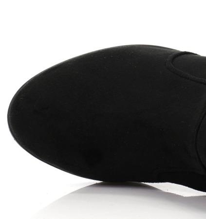 Botki zamszowe- kolor czarny - Obuwie