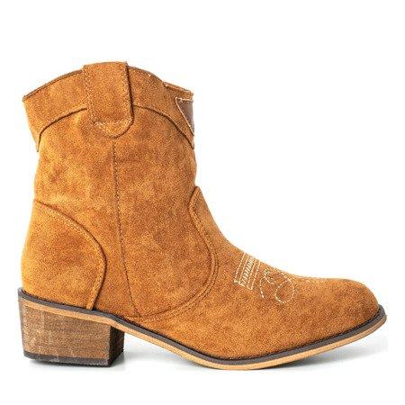 Brązowe botki a'la kowbojki na niskim obcasie Toronto - Obuwie