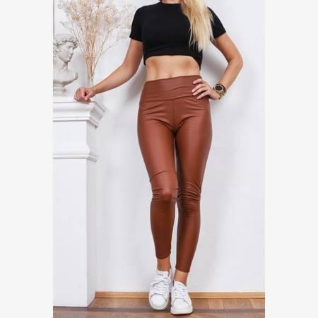 Brązowe legginsy z wysokim stanem - Odzież