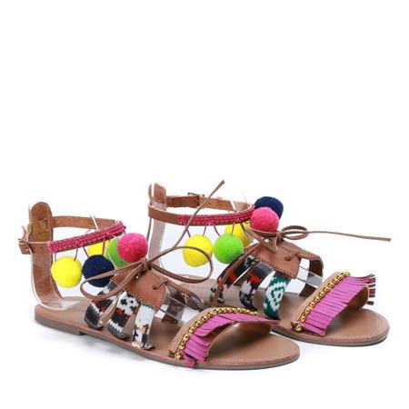Brązowe sandałki z ozdobami Josuea - Obuwie