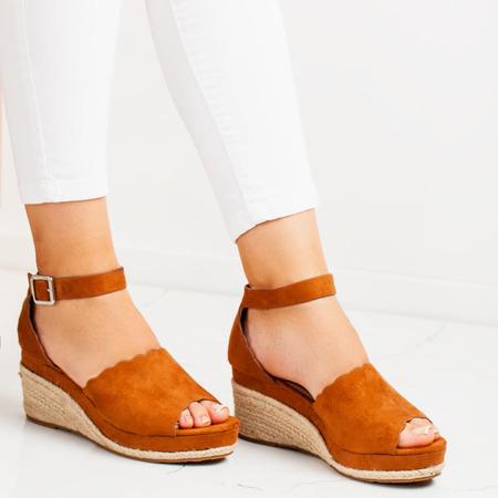 Brązowe sandały a'la espadryle na koturnie Summer Time - Obuwie