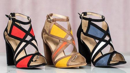 Brązowe sandały na słupku Raffaele - Obuwie