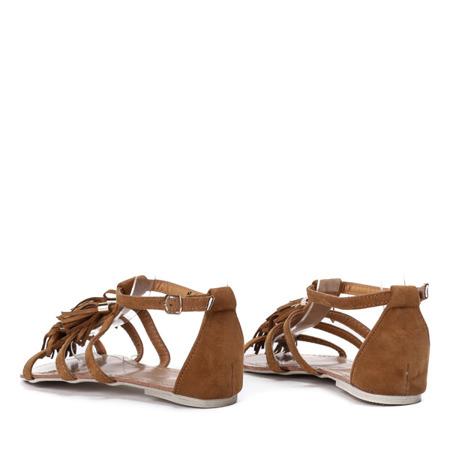 Brązowe sandały z frędzelkami Jowite - Obuwie