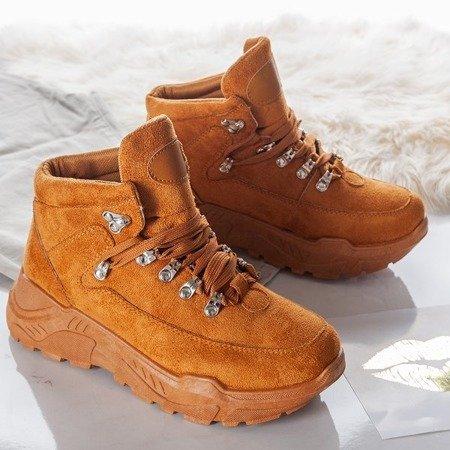 Brązowe sneakersy na platformie Isbel - Obuwie