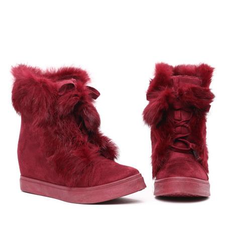 Burgundowe sneakersy z futerkiem - Obuwie