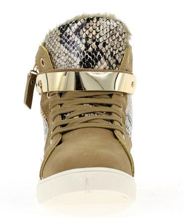 Ciemnobeżowe sneakersy ze złotą ozdobą - Obuwie