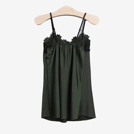 Ciemnozielona koszulka z czarną koronką - Odzież