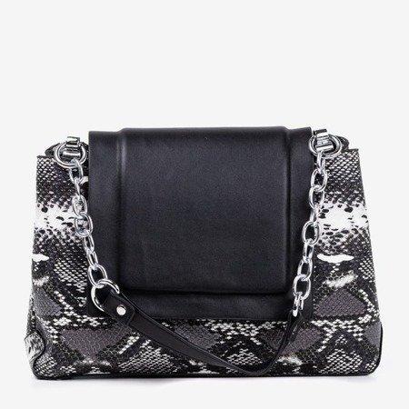 Czarna damska torebka a'la skóra węża - Torebki
