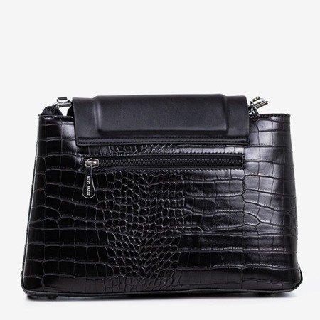 Czarna damska torebka ze zwierzęcym tłoczeniem - Torebki
