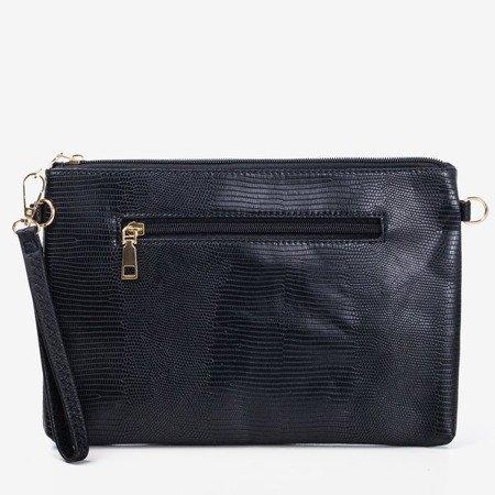 Czarna mała torebka damska ze zwierzęcym tłoczeniem - Torebki