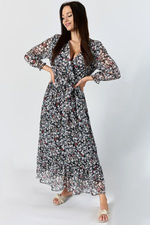 Czarna sukienka maxi w kwiaty - Odzież