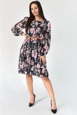 Czarna sukienka z printem w kwiaty - Odzież