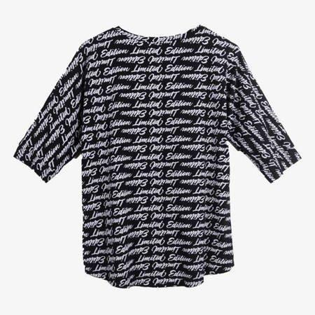 Czarna tunika damska z napisami - Odzież