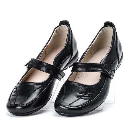 Czarne baleriny ze skóry ekologicznej Clamena - Obuwie