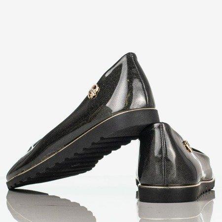 Czarne błyszczące baleriny damskie z ozdobą Romanisca - Obuwie