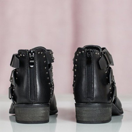 Czarne botki damskie z wycięciem Esstinco - Obuwie