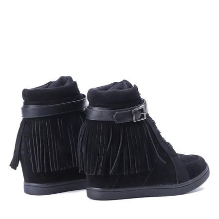 Czarne botki na koturnie - Obuwie
