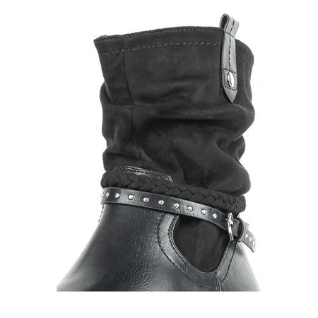 Czarne botki na niskiej platformie Gisella - Obuwie