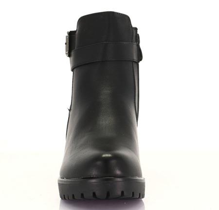 Czarne botki na niskim słupku - Obuwie