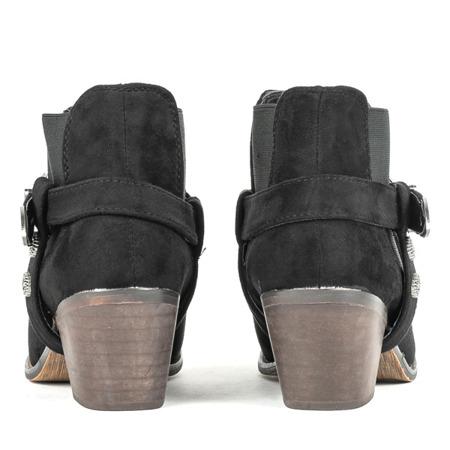 Czarne botki na niskim słupku a'la kowbojki Asiene - Obuwie