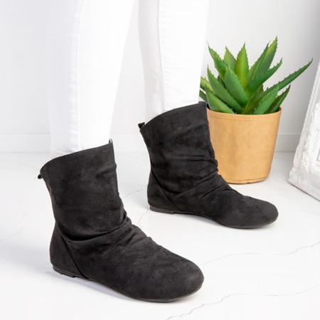 Czarne botki na płaskim obcasie Rosali - Obuwie