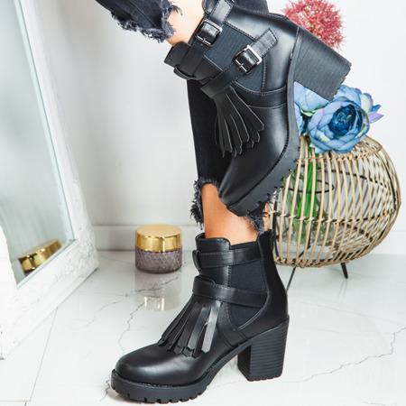Czarne botki na słupku z frędzlami Shiori - Obuwie